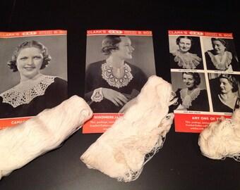 THREE 1940s Vintage Clark's Crocheted COLLAR Pattern KITS with Thread