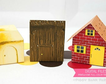 Three Little Pigs Brick, Stick and Straw House Favor Box Set : Print at Home Full-Color Template | 3 Little Pigs Gift Box - Instant Download