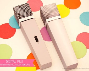 MICROPHONE Favor Box (Silver Gray): DIY Printable PDF - Instant Download