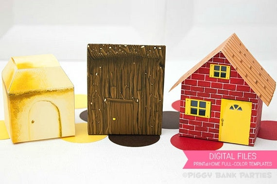 Three Little Pigs Brick Stick And Straw House Favor Box
