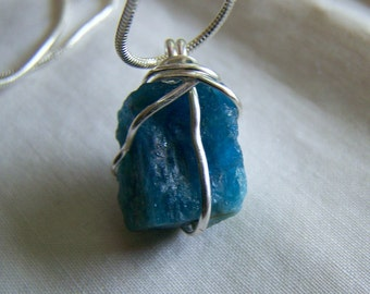 Neon Blue Apatite Crystal Wire Wrapped Pendant