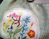 Favorite Wildflowers Purse ~ hand embroidered original design of wildflowers, linen, canvas, vintage barkcloth, cotton, one of a kind