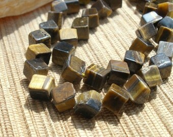 Golden brown Tigerseye Quartz dice cut square gemstone bead strand