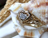 14k Yellow Gold Heart Cut Diamond Ring 1/3 ctw Size 6
