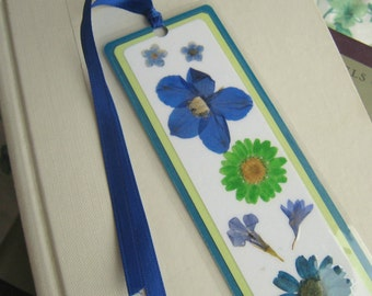 Pressed Flower Collage Laminated Bookmark in Blue, Teal, and Lime Green