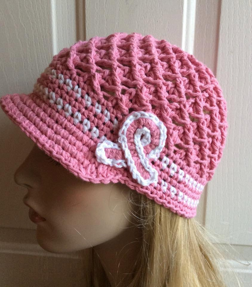 Crochet Hat Patterns Free Cancer Patients : Breast Cancer Awareness Crochet Hat Pink Chemo Cap Breast