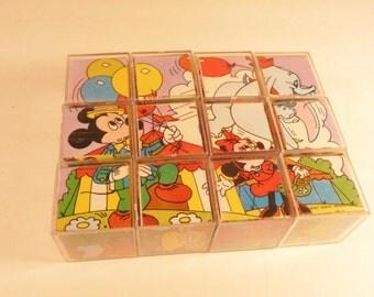 Vintage Disney Block Picture Puzzle 6-Puzzles-In-1
