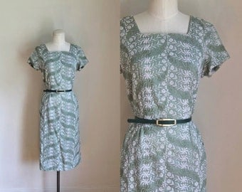 vintage 1950s wiggle dress - SAGE green embroidery party dress / S