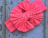 Neon Coral Messy Bow Head Wrap - Pool Safe