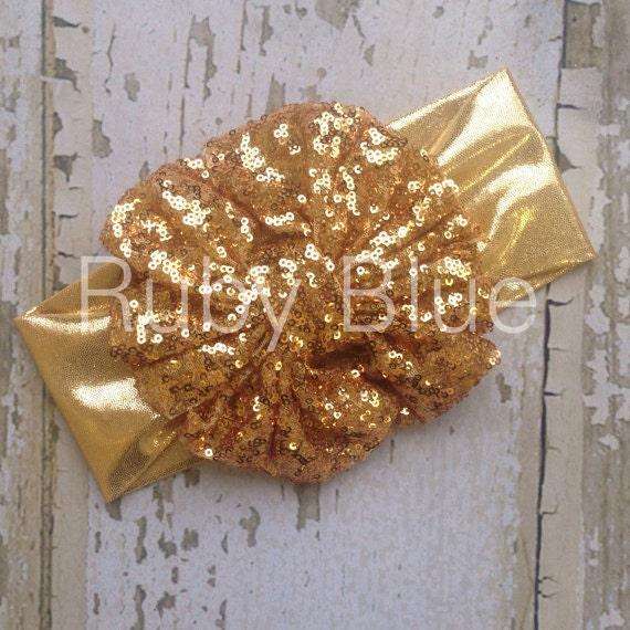 Gold sparkle messy bow head wrap pool safe by rubyblueinc on etsy