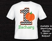 Black and White Chevron Fall Pumpkin Birthday T Shirt or Bodysuit Personalized ANY AGE AVAILABLE