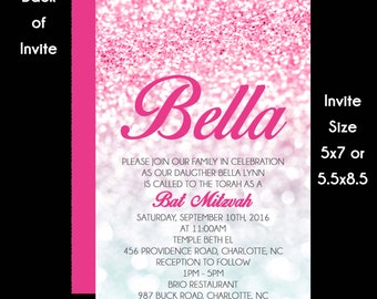 Pink Confetti Bat Mitzvah Invitations - Save the Date - RSVP Card - Information Card - Thank You Note - Envelope Addressing