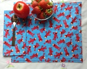 Child's Placement and Cloth Napkin Set, Sesame Street Elmo, Kid's Napkin and Placemat, Lunch Box Set, Reusable, Reversible, Handmde