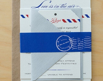 Vintage Air Mail Save the Date, Air Mail Wedding Invitations, airplane wedding invites,Destination Save The Date,Love is in the Air Wedding