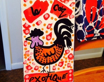 Le Coq Exotique original painting beautiful cock in French marked 1/2 off