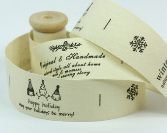 """Cotton Ribbon, Trim, Sewing Tape, Sewing Label, Fabric Label, Cotton Tag, Sew on Label - Let It Snow, Length 1 yard, Width 1"""" (CR21)"""