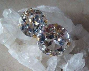 Large Crystal Clip Earrings, Sarah Booth Earrings,