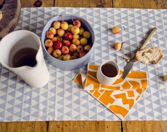 Triangles Table Runner - Geometric Modern Organic Cotton