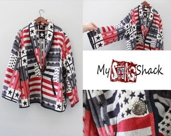 Vintage Oversized American Flag Woven Coat By Fashion Bug