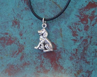 Dog and Puppy Charm Pendant with Adjustable Black Rope Sterling Silver