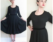 Vintage 1950s Black Day Dress in Heller Wool Jersey / 50s Long Sleeved Dress with Pleated Skirt / S or M