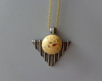 Silver cream gold arrow head necklace pendant