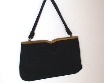 Vintage1950s Black Velvet Party Purse . 50s Formal Evening Bag . Ingler Prom Handbag . Coin Purse & Mirror