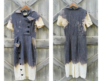 1950s Vintage Cotton Dress Bleached Dip Dye Ombre