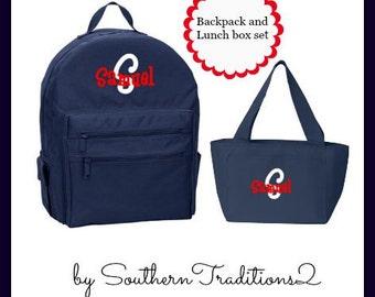 Backpack and Lunchbox set - Monogram Backpack - Monogram Lunch Box Set - Uniform matching Book Bag