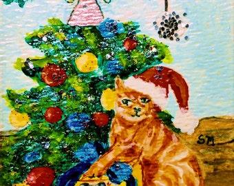 Christmas Cat, Santa Cat by Christmas Tree, ACEO Painting, Origional Art by Artist, Feline Art, Kitty Cat Art