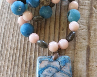 Blue Frosted Druzy Agate Peach Stone and Bronzite Beaded Necklace with Blue Swirled Jasper Pendant