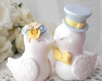 Love Birds Wedding Cake Topper, White,Yellow and Light Blue, Bride and Groom Keepsake, Fully Customizable