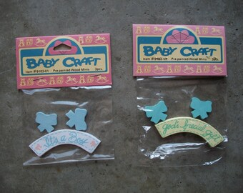 Ten Packaged Die Cut Painted Wood Shapes - Baby
