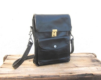 Satchel Distressed Black Leather Messenger Cross Body Bag