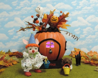 "Needle Felted ""Trick Or Treat"" Bunny and Pup With Lighted Pumpkin House!.............Free Shipping In The U.S."