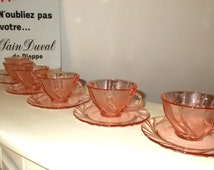 Set of 6 Gorgeous Swirly Pink Glass Cups & Saucers by Vereco.  Vintage French Tea, Coffee Set.  (3395)