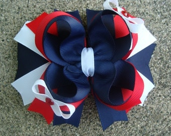 School Hair Bow Navy red and white hair bow large hair bow Stacked Boutique Hair Bow navy hair bow school uniform hair bow