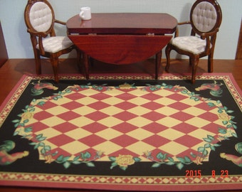 Floor cloth rooster checkerboard rug dollhouse miniature 1:12 scale