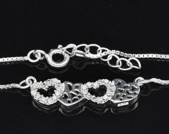 Handmade Fashion Jewelry, White Cubic Zirconia 925 Sterling Silver Bracelet  FD5C0113 BR-CUB487