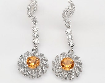 Handmade Natural Gemstone Jewelry, Genuine Yellow Citrine Sterling Silver Earring  FD5A0003 ER-CIT749