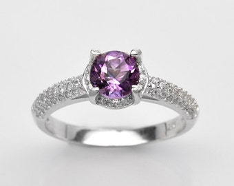 Handmade Natural Gemstone Jewelry, Genuine Purple Amethyst Sterling Silver Ring  FD5A0294  RIS7-PAM066