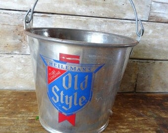 Vintage Old style Tin Pail or Bucket  Blue Red