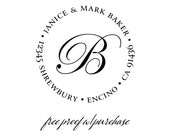 "Custom Monogram Return Address Stamp. Self inking or Mounted with Handle - 20304 (2"" round)"