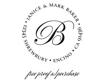 """Custom Monogram Return Address Stamp.  Personalized Address Stamp with Single Intial - Self inking or Mounted with Handle - 20304 (2"""" round)"""
