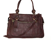 Rina Oversized. Leather handbag tote handbag cross-body bag in vintage mahogany brown fits a 17 inches laptop