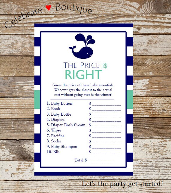 Baby Showers In Germany ~ Nautical the price is right game baby shower instant