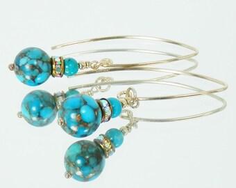 Bronze Infused Kingman Turquoise and Vintage Rhinesone Rondelle Earrings
