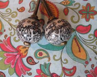 2 Hand Painted Black and Winter White Ceramic KNOBS with Antiqued Brass Accent for your Drawers or Cabinets B-26