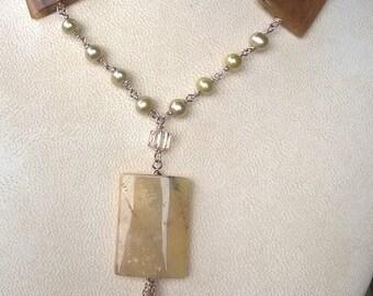 Wasabi Freshwater Pearls, Graphic Feldspar & Swarovski Crystals