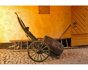 Fine Art Color Photography of Rustic Cart and Barrel in Sweden